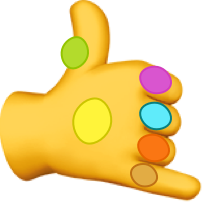 thanos gauntlet but its like the classic emoji hands with an awful photoshop of stupid gems on it, because funny